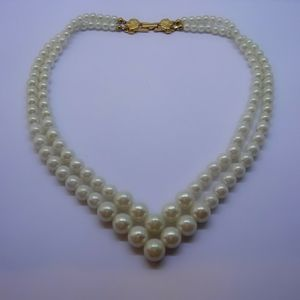 Vintage Richelieu Simulated Pearl Layered Necklace
